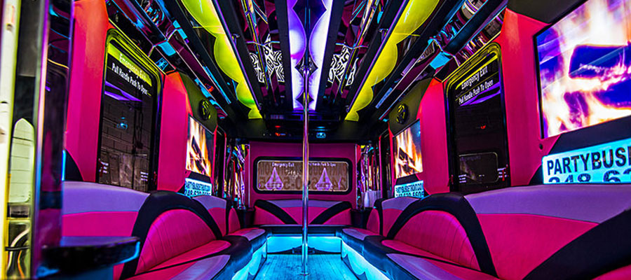 Pink Party Buses Pink Limo Buses for Girls Night Out